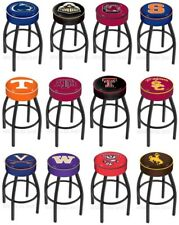 "Choose NCAA P-Z Team L8B1 Black Single-Ring Swivel Bar Stool w/ 4"" Cushion Seat"
