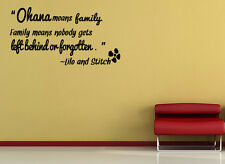 Ohana means Family Wall Sticker Decal Quote Vinyl Art Lettering Gift idea J18