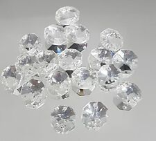 CRYSTAL OCTAGON 14mm 1hole x 50, suncatcher craft jewellery pendant CLEARANCE