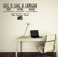 Life is like a camera Vinyl Wall Lettering Quotes Sayings Letters Art Decals New