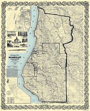 Old County Map - Humboldt California Landowner - Lentell 1898 - 23 x 28.19