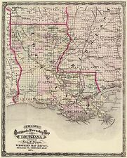 Old Railroad Map - Louisiana Railroad and Townships - Cram 1875 - 23 x 28.5