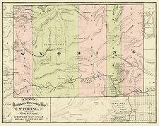 Old Railroad Maps - RAILROAD & TOWNSHIP MAP OF WYOMING (WY) BY G.F. CRAM 1875