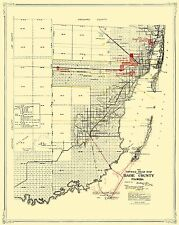 Old County Map - Dade Florida Road - Miami Motor Club 1921 - 23 x 28.88