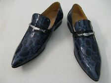 New Encore Fiesso Blue Print Pointed Toe Patent Leather Slip on Shoes FI 3098
