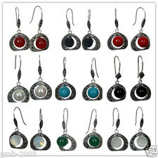 "925 Sterling Silver Jewelry 10mm Round Gems&Marcasite Earrings 1 1/2 ""Hot Sale"
