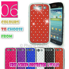 NEW SPARKLE BLING DIAMOND CHROME COVER CASE SAMSUNG PHONE FREE SCREEN PROTECTOR