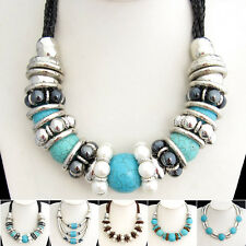 Buy 2 Get 1 Free, Turquoise Pearl Silvered Resin Snake Chain Necklace XB239