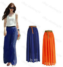 Hot! Sexy Lady Chiffon Pleated Retro Long Maxi Dress Elastic Waist Skirt Belt