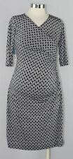 New JAPANESE WEEKEND Maternity Nursing CAREER Surplice DRESS $94 Blue Chain Link