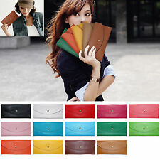 Womens Girls Envelope Clutch PU Leather HandBag Purse Wallet Totes Card Case Bag