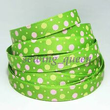 "1/5/10/100 yards 3/8"" 10mm sugar Polka Dot green apple grosgrain ribbon DIY AA15"