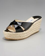 Jimmy Choo Paisley Patent Espadrille Wedge Platform Slide Sandal Shoes Blck $395