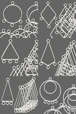 10 Silver Chandelier Bead Drop Earring Findings Hoop Triangle Kite with Loops