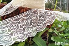 "Ivory Circle Medallion Scalloped Lace Trim 4½ "" wide"