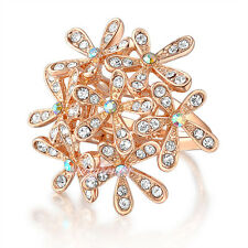 Austrian Crystal cluster Cocktail Ring rose gold GP fashion flower ring gift R18