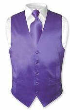 Biagio Men's SILK Dress Vest & NeckTie Solid PURPLE Color Neck Tie Set
