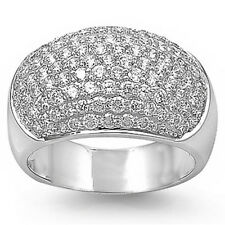 BEAUTIFUL WEDDING ANNIVERSARY CZ .925 Sterling Silver Ring Sizes 6, 8, 9