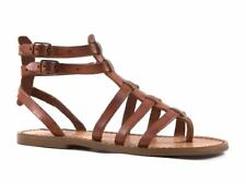 Flat Gladiator Sandals for Women Tan Brown White Ivory Leather Handmade in Italy