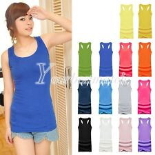 Sexy Lady's Candy Color Vest Dress Long T-Shirt Sleeveless Tank Top Wholesale