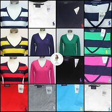 NEW POLO RALPH LAUREN WOMEN'S LONG SLEEVE V-NECK JERSEY SPORT PIMA T-SHIRT TOP