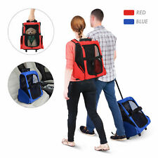 PawHut Pet Luggage Box Dog Cat Travel Backpack Carrier w/Rolling Wheels Stand