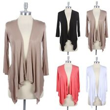 Ruched Back Open Draped Front Plain Cardigan 3/4 Sleeve Casual Solid Rayon Span