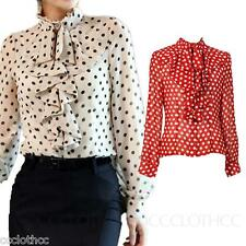 Womens Vintage Party Ruffle Top Long Sleeve lady Blouse Polka Dot Shirt 4 6 2 0