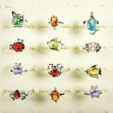 Wholesale Lots 10Pcs Silver Kids Animal Mixed Color CZ Rings Size 4 To 6