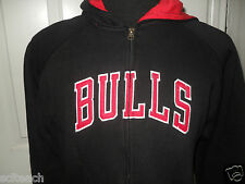 New Youth Adidas (All Sizes) Chicago Bulls Black/Red Zipper Hooded Sweatshirt