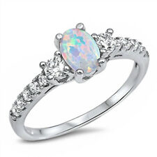 WHITE OPAL & WHITE CZ FASHION ENGAGEMENT .925 Sterling Silver Ring Sizes 4-12
