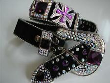 Western COWGIRL SHOW Black PURPLE Bling BOLD Belt Buckle Kid Youth Adult $48 NR