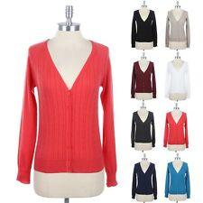 WOMEN'S Cable Knit V Neck Button Down Cardigan Long Sleeve Solid Plain Cotton