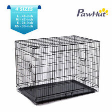 "Pet Cage Crates 2 Doors Folding Playpen Dog Pen Kennel Wire Cage 48"" 42"" 36"" 30"""
