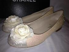 CHANEL Glitter Cap Toe Silk Camellia Flower Ballerina Ballet Flat Shoes $825