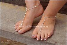 "Swarovski White Pearl ""CLASSIC"" Barefoot Sandals + Anklets Beach Bridal 1 pair"