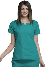 Teal Blue Cherokee Workwear Round Neck Scrub Top 4824 TLBW