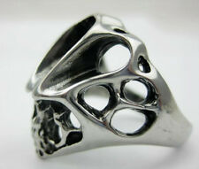 Cool Men's PUNK gothic biker 316L silver stainless steel Evil skull party ring