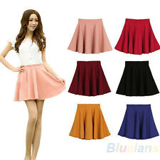 Womens Candy Color Pleated Flared Mini Skirts Shorts Unders High Waisted NW BE4U