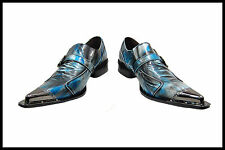 NEW Fiesso Dress Shoes Textured Blue Leather with Decorative Metal Tips FI 6053