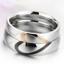 Love Heart Titanium Stainless Steel Engagement Wedding Band Matching Couple Ring