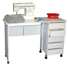 Mobile Folding Sewing Machine Craft Table Home Sewing Table with Wheels - NEW