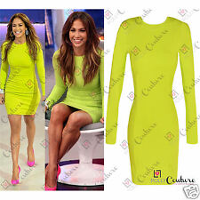 Womens Neon Celeb Bodycon Tunic Party Long Sleeve Cocktail Evening Ladies Dress