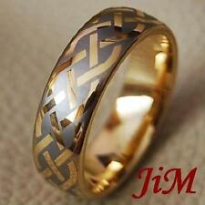Mens Tungsten Rings 14K Gold Womens Wedding Band Celtic Jewelry Size Size 6-13