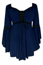 Plus Size 1X-5X / 12-28 OPHELIA Gothic Victorian Corset Top MIDNIGHT -Navy BLUE