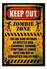 Framed Zombie Warning Keep Out Poster Ready To Hang - Choice Of Frame Colours