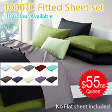 1000TC Egyptian Cotton 3 Piece Bed Fitted Sheet+Pillowcase Set(No Flat  Sheet)