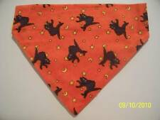 DOG CAT FERRET 2 in 1 Over Collar REVERSIBLE Bandana~Halloween Black Cat Moon