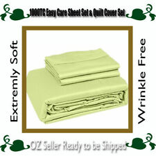 5 Sizes 1000TC Easy Care Microfibre Super Soft Sheet Set,Quilt Cover Set-Moss