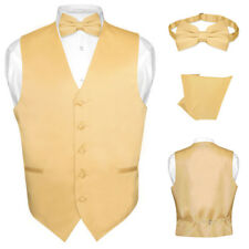 Men's Dress Vest BOWTie GOLD Color Bow Tie Set for Suit or Tuxedo